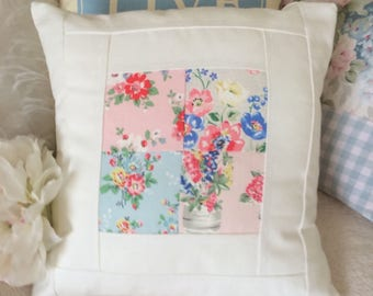 Cushion, Cath Kidston Patchwork And Embroidered Cream Fabric