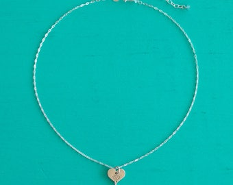 LOTUS LOVE Charm Choker Necklace with Blue Apatite Stones, Lotus Flower Jewelry, Tiny Heart Necklace with Lotus in Sterling Silver, (#056)