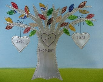 Ten Year Anniversary Gift  - Aluminum Gift Hearts Family Tree Personalized Engraved Dates and Names Stamped