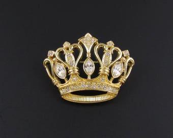 Kenneth J Lane Crown Brooch, KJL for Avon, Crown Brooch, Rhinestone Brooch, Crown Pin, Royal Brooch
