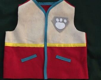 ADULT RYDER FELT paw patrol inspired vest