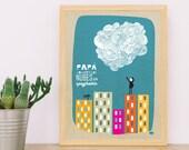 A4 Papa convierte las nubes en espaguetis