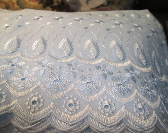 Light Blue Cotton/Polyester Eyelet Fabric - 2 Yards