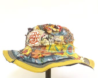 Handmade Patchwork Hat In Fall Colors with Wide Brim