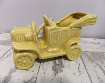 Vintage Planter Antique Car Yellow Convertible Ceramic Old Car Mid Century Kitsch Retro Home Decor Plants