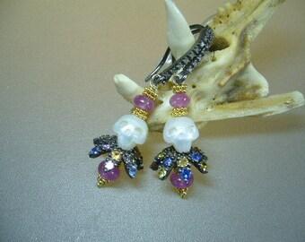 Hand Carved Natural Pearl Skull Multi Sapphire Diamond Earrings