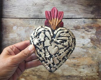 Wooden Sacred Heart milagro ex voto religious wall hanging Mexican folk art amulets miracles