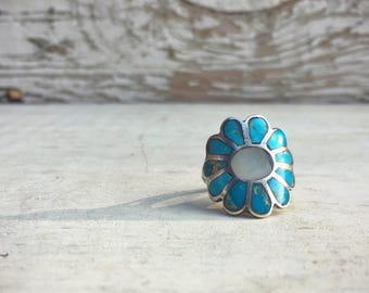 Size 6.75 vintage turquoise and Mother of Pearl channel inlay flower ring, silver turquoise ring, 1970s Zuni ring, Native American ring
