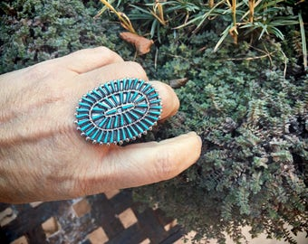 Turquoise Ring Zuni Needlepoint Cluster Ring for Women Size 8.5 Native American Indian Jewelry