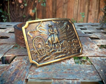 Western Belt Buckle for Men, Brass Belt Buckle Vintage, Western Gift for Men