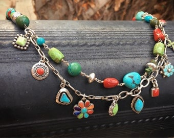 Turquoise Jewelry Charm Necklace Multi-Stone Coral Gaspeite Southwestern Native American Style