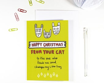 Happy Christmas From Your Cat Christmas Card From The Cat