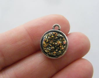4 Mixed colour resin druzy antique silver tone charms M868