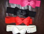 Bow cinch belt ,Wide elastic stretch corset belt, cinch belt with big bow,hot pink,red,black,ivory 24 inch to 29 1/2 inch
