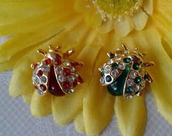 Two Vintage Ladybug Brooches
