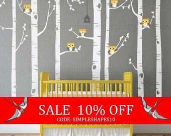 Summer Sale - Birch Tree with Owls Wall Decal, Wall Mural, Baby Nursery Decor, Nature Wall Decals, Wall Decor - W1112