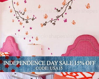 Independence Day Sale - Butterfly Wall Decal, Butterfly Branches Wall Decal, Crib Wall Decals, Baby Nursery Decals, Nursery Wall Stickers,