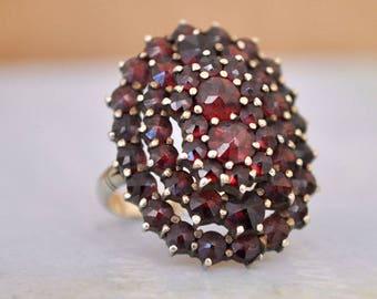 vintage find  Victorian 800 silver gold wash garnet ring, Bohemian Garnet Ring, large antique cocktail ring, January Birthstone