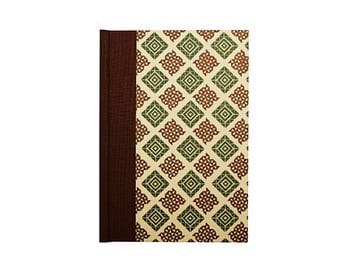 small Address Book, brown green graphic pattern, gift idea for men,
