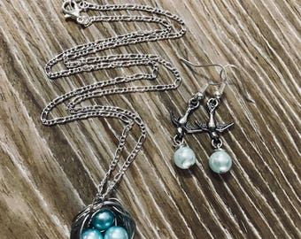 Pearl Egg Bird Nest Necklace Set