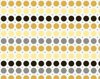 last call Andrea Victoria by My Minds Eye and Riley Blake Designs Dots Gold, 1/2 YARD
