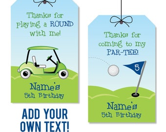 INSTANT DOWNLOAD Navy Golf Party Favor Tags - EDITABLE printable birthday party favor tags
