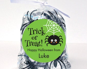 Halloween Stickers - Trick or Treat Spider (Green) - Sheet of 12 or 24