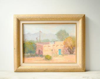 Vintage New Mexico Oil Painting, J. Rozek Mesilla Landscape Painting, Framed Painting, Southwest Painting