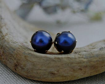 Reza-  Large Freshwater Pearl Stud Earrings, 6 prong setting, gift idea, fashion, earrings, jewelry, business wear, post earrings, for her