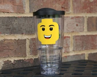 Personalized Lego head 24 oz acrylic Insulated tumbler and straw with lego brick - Great birthday gift for the lego fan in your life