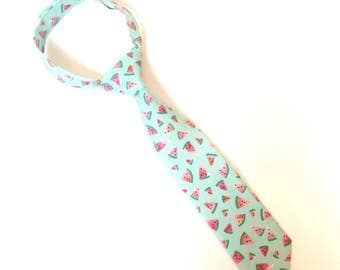 Boys Ties watermelon tie Watermelon Necktie boys neckties mint green Coral Pink watercolors fabric toddler tie In Stock size 2t-4t