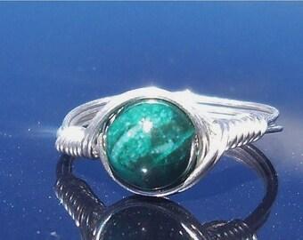 25% Off Sale Rainforest Jasper Wire Wrapped Gemstone Ring