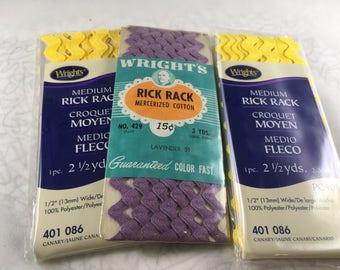 Rick Rack, Rick Rack Trim, Rick Rack Packages, Yellow Rick Rack,  Purple Rick Rack, Sewing Trims, Easter Trims