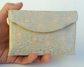 Vintage Brocade Clutch, Cosmetics Bag, Small Bag with Accessories: Mirror, Comb, and Metal Box