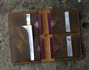 Personalized distressed leather family passport holder case organizer / Leather family 4 passport travel wallet cover case FP405SL