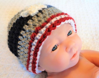 Baby Patriots Beanie Hand-crocheted New England Patriot Football Fan Hat with Star and Stripes By Distinctly Daisy