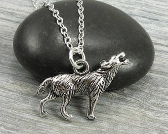 Howling Wolf Necklace, Silver Wolf Charm on a Silver Cable Chain
