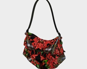 Butterflies on Red Flowers Origami Tote