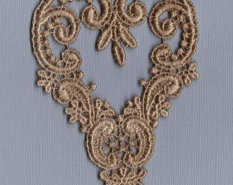 Hand Dyed Venise Lace Applique Victorian Heart  Aged Tea Gold Patina