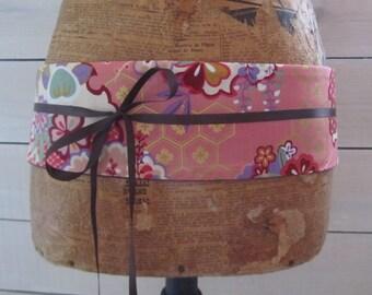 Japanese fabric pink sakura and polka dot reversible obi belt