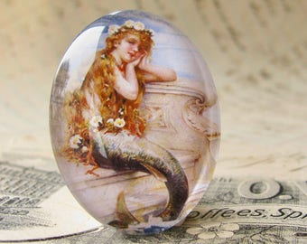 "From our Magical Maidens collection - Vintage 1930s ad ""Mermaid Bath Salts"" Handmade glass oval cabochon 40x30mm 40x30 30x40mm 40 30 mm"