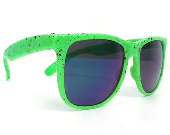 vintage 80s deadstock sunglasses lime green black paint splatter nylon plastic frames blue revo sun glasses eyewear men women unisex new 177