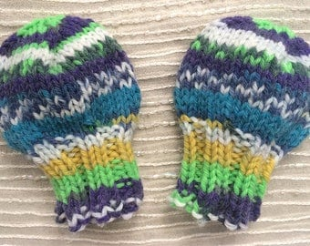 Newborn Mittens - Hand Knit - Infant Mittens - THUMBLESS Mittens - Baby Mittens - Machine Washable - Blue, Neon Green, White, Yellow - Mitts