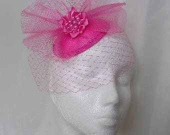 Bright Fuchsia Hot Lipstick Pink Vintage Style Blusher Veil & Crinoline Percher Fascinator Hat - Wedding Royal Ascot- Ready Made