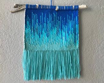 Blue Gradient Handwoven Tapestry