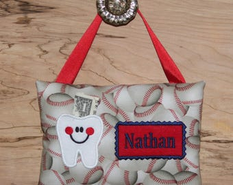 Tooth fairy pillow,Personalized tooth fairy pillow,Baseball tooth fairy pillow,Boy tooth fairy pillow,Baseball--- SHIPS NEXT DAY