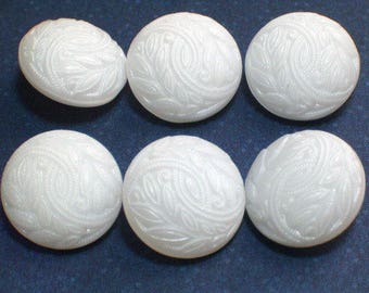 6 Beautiful White Glass Vintage Buttons 18mm Wedding Sweater Button Set