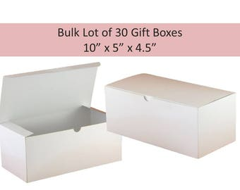 """30 White Gift Boxes, Bulk Lot 10"""" x 5""""  Boxes Only - Glossy White Tuck Top Boxes for Hats, Gloves, Vase, Gift Wrap Box for Glassware"""