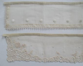 2 Antique Organdy Collars Chemical Lace Embroidered Dots Tatting Repurpose Destash still new