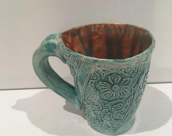 Turquoise and orange mug